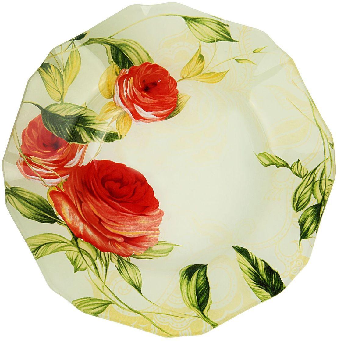 Тарелка глубокая Доляна Чайная роза, диаметр 20 см230626Столовая посуда с природными мотивами в оформлении разнообразит интерьер кухни и сделает застолье самобытным и запоминающимся. Достоинства: качественное стекло не впитывает запахов; гладкая поверхность обеспечивает лёгкость мытья. Рекомендуется избегать использования абразивных моющих средств. Делайте любимый дом уютнее!