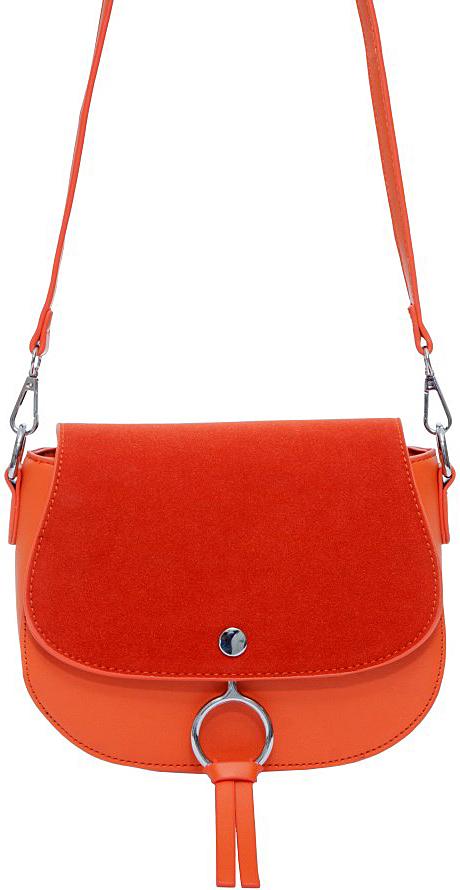 Сумка женская OrsOro, цвет: оранжевый. D-023/3D-023/3Сумка с одним отделением, на молнии с клапаном на магнитной кнопке, внутренний карман на молнии, карман для телефона