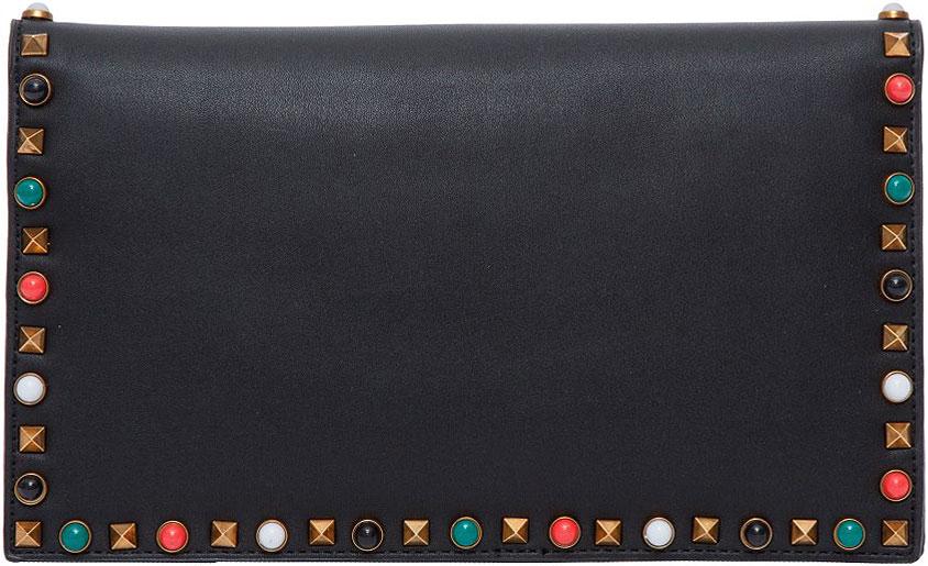 Клатч женский OrsOro, цвет: черный, мультиколор. D-020/1D-020/1Клатч OrsOro, выполненный из высококачественной искусственной кожи, оформлен декоративными клепками и разноцветными вставками. Изделие оснащено съемными плечевым ремнем с элементами в виде цепочки. Клатч закрывается клапаном на магнитную кнопку. Внутри расположено три отделения, которые содержат один вшитый карман на молнии и один открытый накладной карман для телефона.