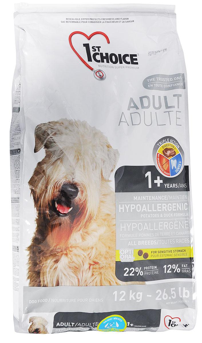 Корм сухой 1st Choice для собак, гипоаллергенный, с уткой и картофелем, 12 кг102.325Корм сухой 1st Choice предназначен для собак. Свежая утка (источник гипоаллергенных протеинов) - главный ингредиент этой сбалансированной и вкусной формулы. Корм создан специально для собак с чувствительным желудком и страдающих пищевой аллергией. Без пшеницы, кукурузы и сои. Товар сертифицирован.