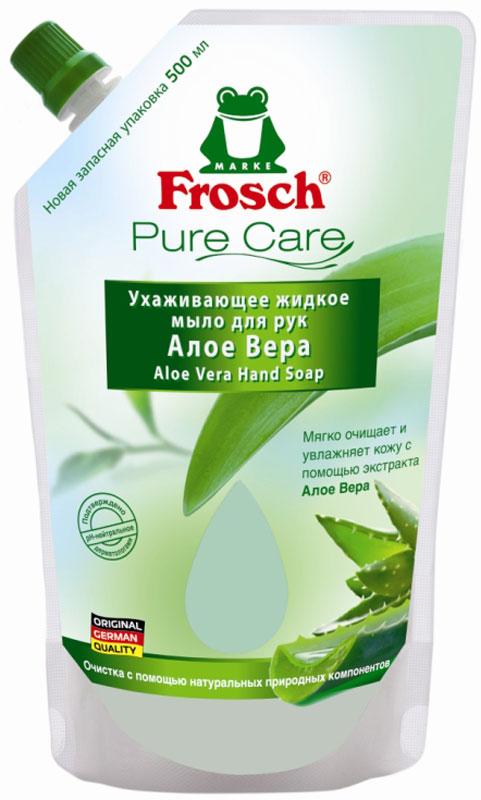 Жидкое мыло для рук Frosch Алое Вера, сменная упаковка, 500 мл712921Ухаживающее жидкое мыло для рук pH -нейтральное, мягко очищает и питает кожу. Создано на основе натуральных природных компонентов, не содержит таких вредных веществ, как EDTA и NTA. Упаковка специально разработана с учетом пожеланий покупателей – без раздражающих этикеток. Протестировано дерматологами.
