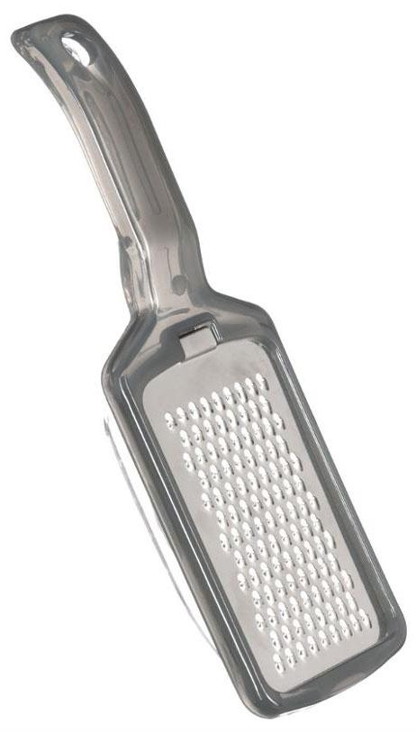 Терка JJA, с крышкой, Цвет: серый, 22 х 7 х 3,8 см100204BЯркая терка с крышкой прекрасно подойдет для натирания овощей или сыров. Она очень практична в использовании, так как при натирании продукты сразу попадают внутрь прозрачной крышки и не рассыпаются. Терка имеет лезвия среднего размера и удобную ручку с отверстием для подвеса. Стильная и практичная, отличается высоким качеством заточки режущих элементов и эргономичным дизайном. Станет хорошим дополнением к аксессуара вашей кухни.