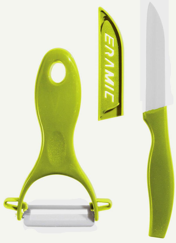 Нож керамический  JJA, с овощечисткой, цвет: серый, 2 предмета111129CНезаменимый помощник на кухне - набор для чистки и резки овощей. Овощечистка и нож снабжены керамическими лезвиями, которые предотвращают прилипание продуктов и долго сохраняют свою остроту. Нож имеет пластиковый чехол. Эти аксессуары станут приятным дополнением к дизайну Вашей кухни.