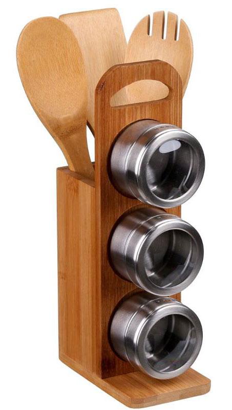 Набор кухонный JJA, 7 предметов111530Этот удобный стильный кухонный набор состоит из подставки, 3-х баночек для специй с магнитным креплением и прозрачным окошком, 3-х деревянных лопаточек разной формы. Не займёт много места, а необходимые аксессуары будут всегда под рукой. Прекрасно впишется в интерьер Вашей кухни.