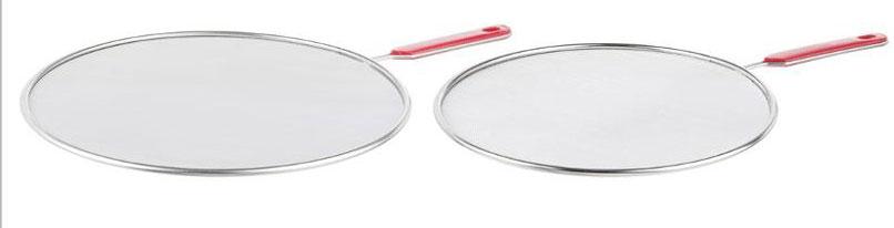 Крышка-экран от брызг JJA, цвет: красный, 2 шт120345AНабор состоит из двух крышек-экранов, диаметром 29 и 24,5 см. Эти крышки защитят Вас от брызг масла и жира, в процессе приготовления, при этом сетка отлично пропускает воздух и сохраняет полноценный режим жарки и варки. Сетка и прочный корпус выполнены из высококачественной нержавеющей стали, что обеспечивает его долговечность и износостойкость. Удобные ручки снабжены пластиковыми, приятными на ощупь вставками, с отверстиями для подвешивания. Такие крышки-экраны сделают приготовление пищи удобным и безопасным, станут хорошим дополнением к Вашему кухонному инвентарю.