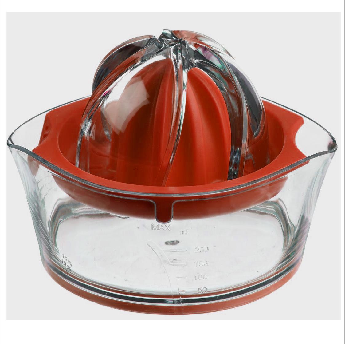Соковыжималка для цитрусовых JJA, цвет: красный, 14 х 12 х 9 см128657AКлассическая соковыжималка для цитрусовых, имеет яркий, изысканный дизайн. Шкала, нанесённая на прозрачный контейнер, поможет точно определить объём выжатого сока, а если Вы предпочитаете этот напиток без мякоти, то специальная решеточка не позволит ей попасть в Ваш стакан.