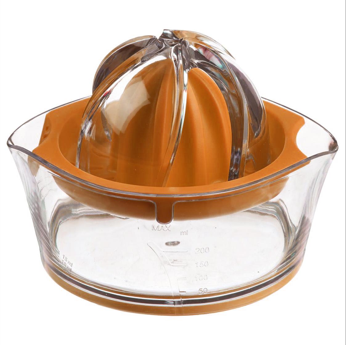 Соковыжималка для цитрусовых JJA, цвет: оранжевый, 14 х 12 х 9 см128657CКлассическая соковыжималка для цитрусовых, имеет яркий, изысканный дизайн. Шкала, нанесённая на прозрачный контейнер, поможет точно определить объём выжатого сока, а если Вы предпочитаете этот напиток без мякоти, то специальная решеточка не позволит ей попасть в Ваш стакан.