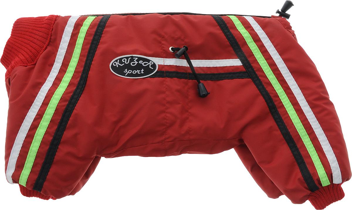 Комбинезон для собак Kuzer-Moda Спринт, утепленный, для девочки. Размер 25KZF01451Простая, но очень эффектная модель в спортивном стиле с трикотажными манжетами и горловиной. Застежка на липучку. Любые расцветки. Однотонный комбинезон декорирован трехцветными полосками и украшен фирменной эмблемой. Вес собаки 2,5-3,5 кг. Обхват живота 26-33 см.