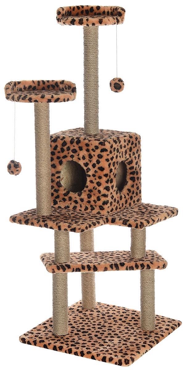 Игровой комплекс для кошек Меридиан Лестница, цвет: коричневый, черный, бежевый, 56 х 50 х 142 смД151ЛеИгровой комплекс для кошек Меридиан Лестница выполнен из высококачественного ДВП и ДСП и обтянут искусственным мехом. Изделие предназначено для кошек. Ваш домашний питомец будет с удовольствием точить когти о специальные столбики, изготовленные из джута. А отдохнуть он сможет либо на полках, либо в домике. Общий размер: 56 х 50 х 142 см. Размер верхних полок: 27 х 27 см. Размер домика: 31 х 31 х 32 см.