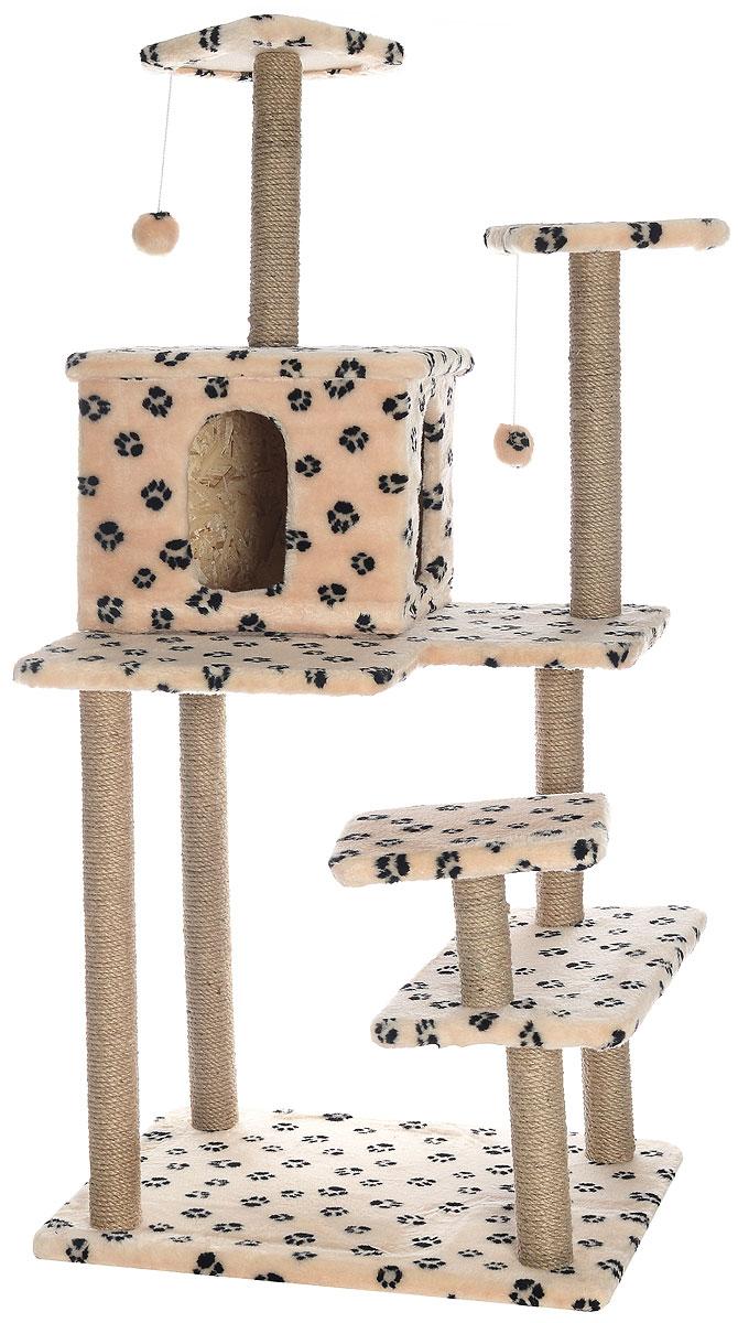 Игровой комплекс для кошек Меридиан Семейный, цвет: бежевый, черный, 70 х 65 х 150 смД162Ла_бежевый, черный лапкиИгровой комплекс для кошек Меридиан Семейный выполнен из высококачественного ДВП и ДСП и обтянут искусственным мехом. Изделие предназначено для кошек. Ваш домашний питомец будет с удовольствием точить когти о специальные столбики, изготовленные из джута. А отдохнуть он сможет либо на полках, либо в домике. Сверху имеются 2 подвесные игрушки, которые привлекут внимание кошки к когтеточке. Общий размер: 70 х 65 х 150 см. Размер полок: 31 х 31 см, 26 х 26 см (2 полки), 59 х 24 см. Размер домика: 41 х 33 х 35 см.