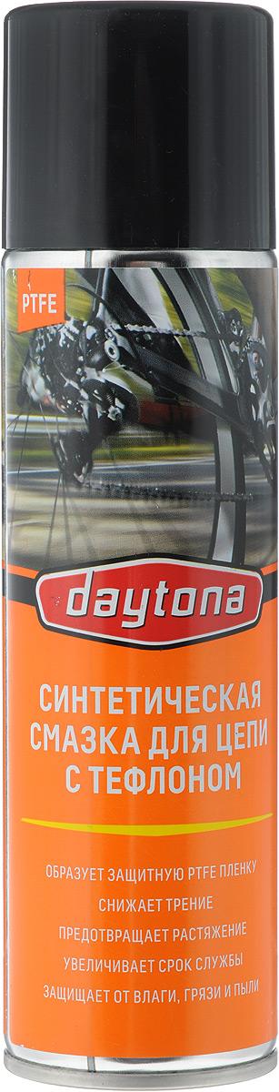 Смазка для цепи с тефлоном Daytona, синтетическая, аэрозоль, 335 мл2010123Синтетическая смазка Daytona подходит для всех видов цепей. Благодаря быстрому прониканию и формированию устойчивой пленки тефлонового покрытия обеспечивает снижение трения, защищает от грязи и пыли, предотвращает коррозию и абразивное изнашивание, предотвращая растяжение цепи, что значительно увеличивает срок ее службы. Синтетическая основа позволяет использовать смазку при низких температурах окружающей среды. Обладает антистатическим эффектом. Может применяться в качестве антиприкипающей смазки для легконагруженных соединений. Состав: масло гидрокрекинговое, полимеры, пакет функциональных присадок, высокоочищенный углеводородный растворитель, PTFE, пропан, бутан. Товар сертифицирован.
