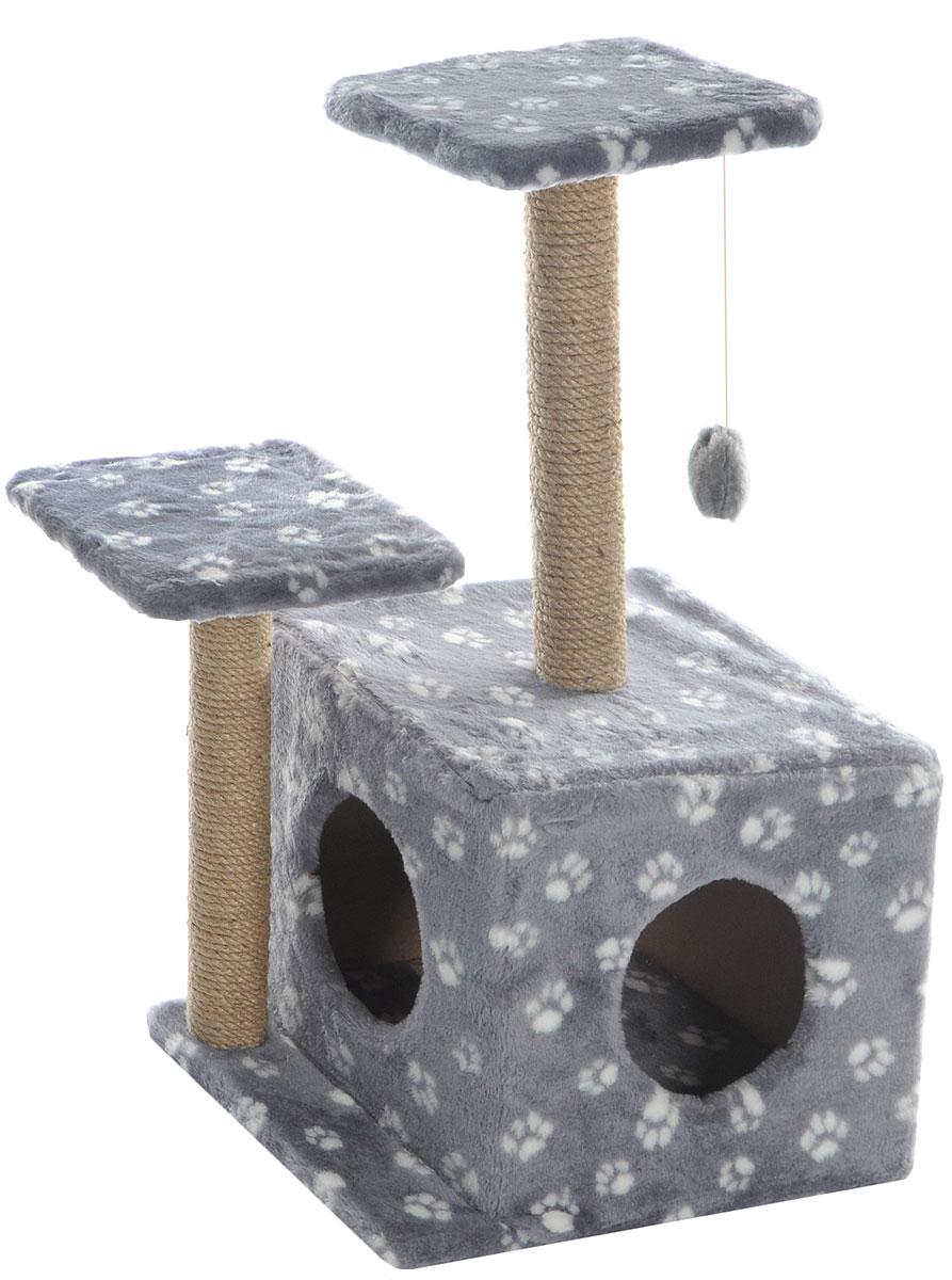 Игровой комплекс для кошек Меридиан, с домиком и когтеточкой, цвет: серый, белый, бежевый, 45 х 47 х 75 смД131 Ла_серый, белый лапкиИгровой комплекс для кошек Меридиан выполнен из высококачественного ДВП и ДСП и обтянут искусственным мехом. Изделие предназначено для кошек. Ваш домашний питомец будет с удовольствием точить когти о специальный столбик, изготовленный из джута. А отдохнуть он сможет либо на полках разной высоты, либо в расположенном внизу домике. Также комплекс оснащен подвесной игрушкой, которая привлечет вашего питомца. Общий размер: 45 х 47 х 75 см. Размер домика: 45 х 36 х 32 см. Высота полок (от пола): 75 см, 45 см. Размер полок: 26 х 26 см.