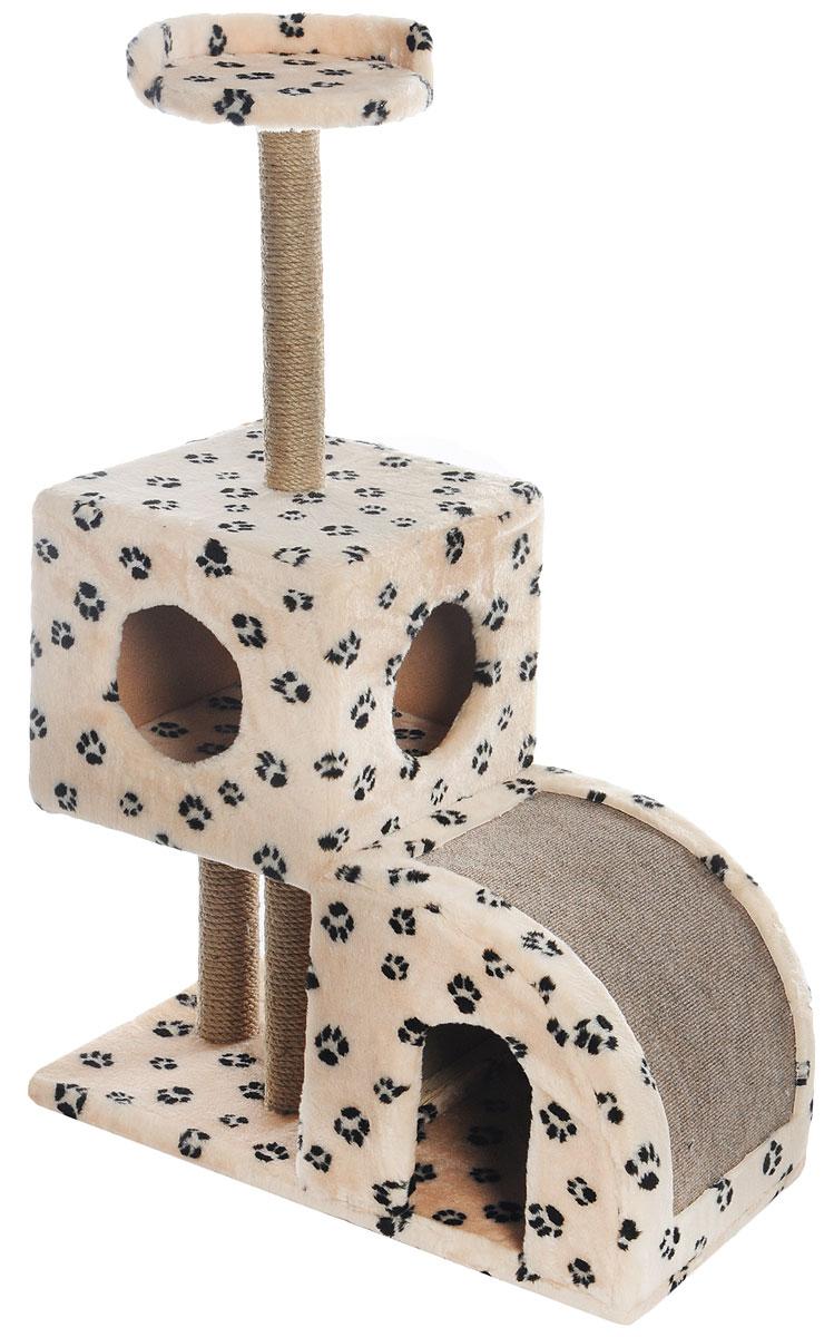 Домик-когтеточка Меридиан, двухуровневый, цвет: светло-коричневый, черный, бежевый, 71 х 36 х 110 смД341Ла_светло-коричневый, черный, лапкиДомик-когтеточка Меридиан выполнен из высококачественного ДВП и ДСП и обтянут искусственным мехом. Изделие предназначено для кошек. Ваш домашний питомец будет с удовольствием точить когти о специальные столбики, изготовленные из джута или о горку из ковролина. А отдохнуть он сможет либо на полке, либо в домиках. Домик-когтеточка Меридиан принесет пользу не только вашему питомцу, но и вам, так как он сохранит мебель от когтей и шерсти. Общий размер: 71 х 36 х 110 см. Размер нижнего домика: 36 х 36 х 32 см. Размер верхнего домика: 36 х 36 х 31 см. Размер полки: 26 х 26 см.