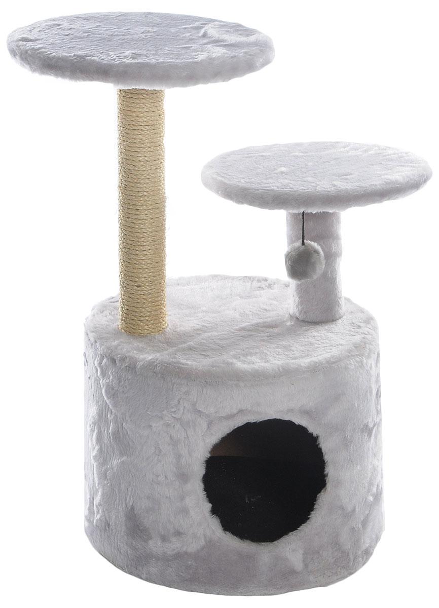Когтеточка Lion Manufactory Барсик, цвет: серый, бежевый, 40 х 40 х 80 смKD047_серыйИгровой комплекс для кошек Lion Manufactory Барсик выполнен из высококачественного ДСП и обтянут искусственным мехом. Изделие предназначено для кошек. Ваш домашний питомец будет с удовольствием точить когти о специальный столбик, изготовленный из джута. А отдохнуть он сможет либо на полках разной высоты, либо в расположенном внизу домике. На одной из полок имеется подвесная игрушка. Общий размер: 40 х 40 х 80 см. Размер домика: 40 х 40 х 30 см. Диаметр полок: 34 см, 30 см.