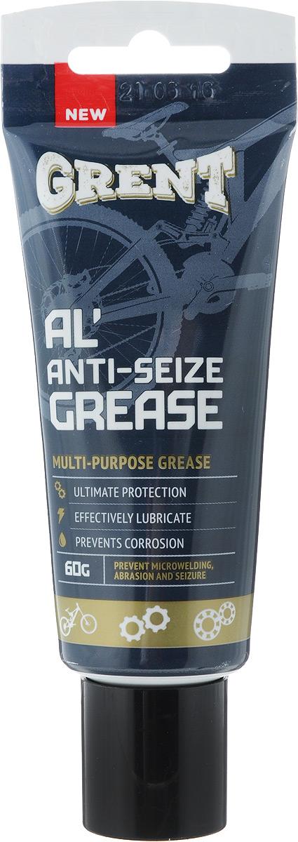 Смазка литиевая Grent, антиприкипающая, с алюминием, 60 г40554Антиприкипающая литиевая смазка Grent представляет собой уникальную смесь литиевой смазки с ультрадисперсными порошками алюминия и графита. Позволяет эффективно смазывать трущиеся поверхности, работающие в тяжелых условиях эксплуатации, при высоком контактном давлении и экстремальных температурах. Используется для предотвращения микросваривания, истирания, коррозии и заедания, а так же для облегчения сборки. Диапазон рабочих температур: от -40°C до +700°C. Обеспечивает хорошую электропроводность. Применение: резьбовые, подвижные и не подвижные разъемные соединения, подседельные штыри, втулки. Товар сертифицирован.