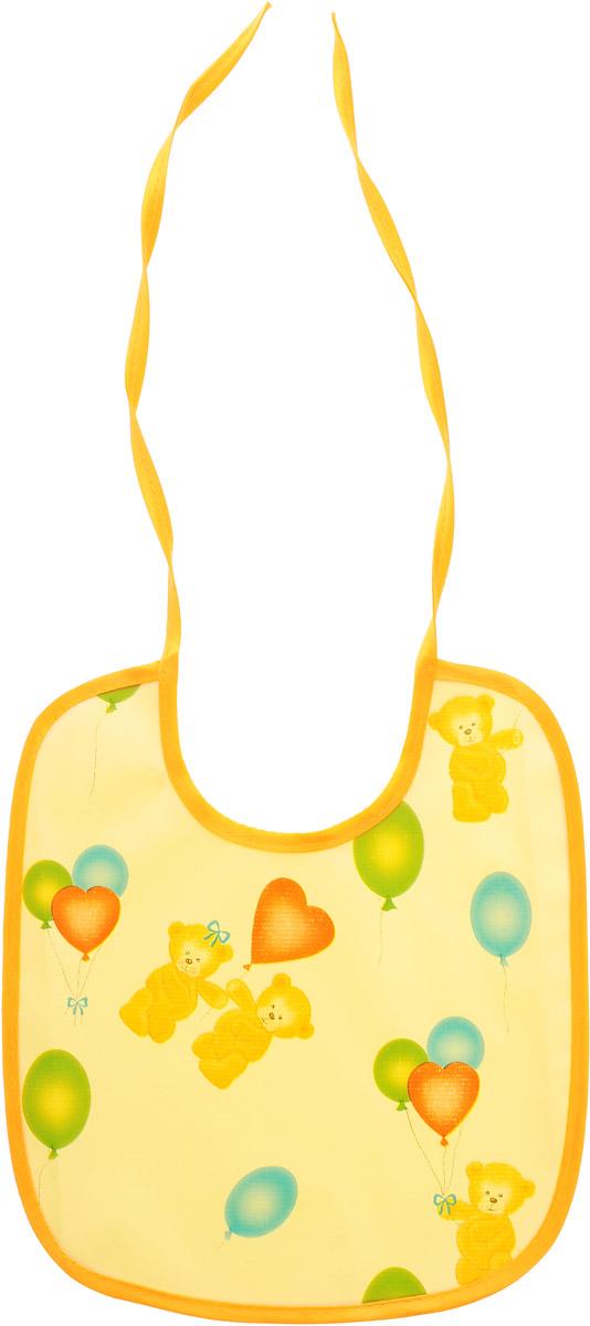 Колорит Нагрудник Мишки с шариками цвет желтый оранжевый 20 см х 22 см