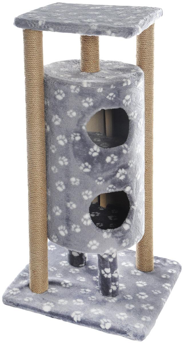 Домик-когтеточка Меридиан Ракета, 5-ярусный, цвет: серый, белый, бежевый, 51 х 51 х 104 смД527Ла_серый, белый лапкиДомик-когтеточка Меридиан Ракета выполнен из высококачественных материалов. Изделие предназначено для кошек. Уютный, домик имеет 5 ярусов. Изделие обтянуто искусственным мехом, а столбики изготовлены из джута. Ваш домашний питомец будет с удовольствием точить когти о специальные столбики. Второй и третий ярус выполнен в виде нор, где можно укрыться от посторонних глаз. Места хватит для нескольких питомцев. Домик-когтеточка Меридиан Ракета принесет пользу не только вашему питомцу, но и вам, так как он сохранит мебель от когтей и шерсти. Общий размер: 51 х 51 х 104 см. Размер нижней полки: 51 х 51 см. Размер верхней полки: 41 х 41 см. Высота двух домиков: 61 см. Диаметр домиков: 36 см.