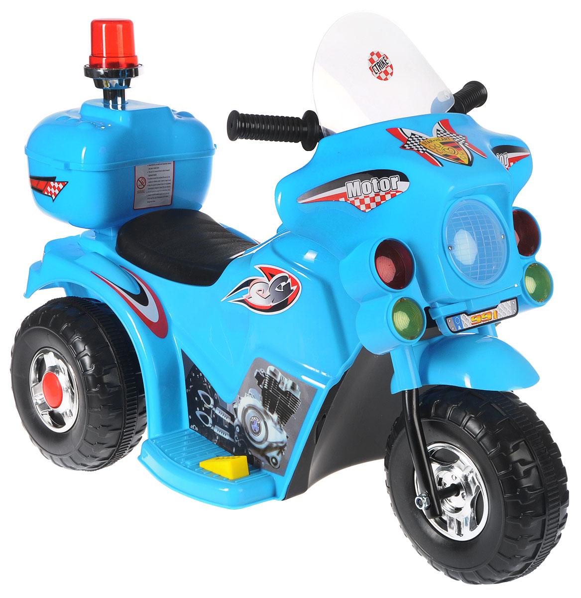 G120 Мотоцикл детский на аккумуляторе с маячком цвет голубой 1004672