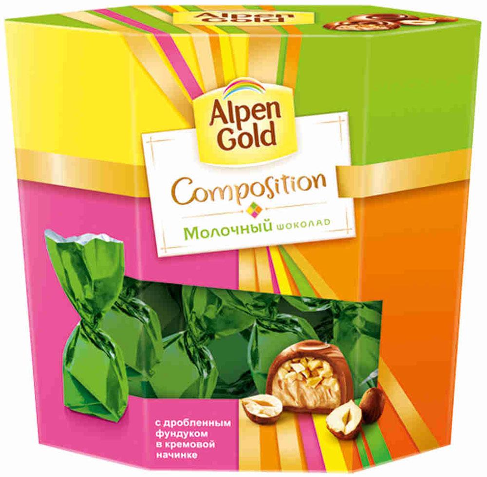 Alpen Gold Composition конфеты из молочного шоколада с дробленым фундуком, 145 г