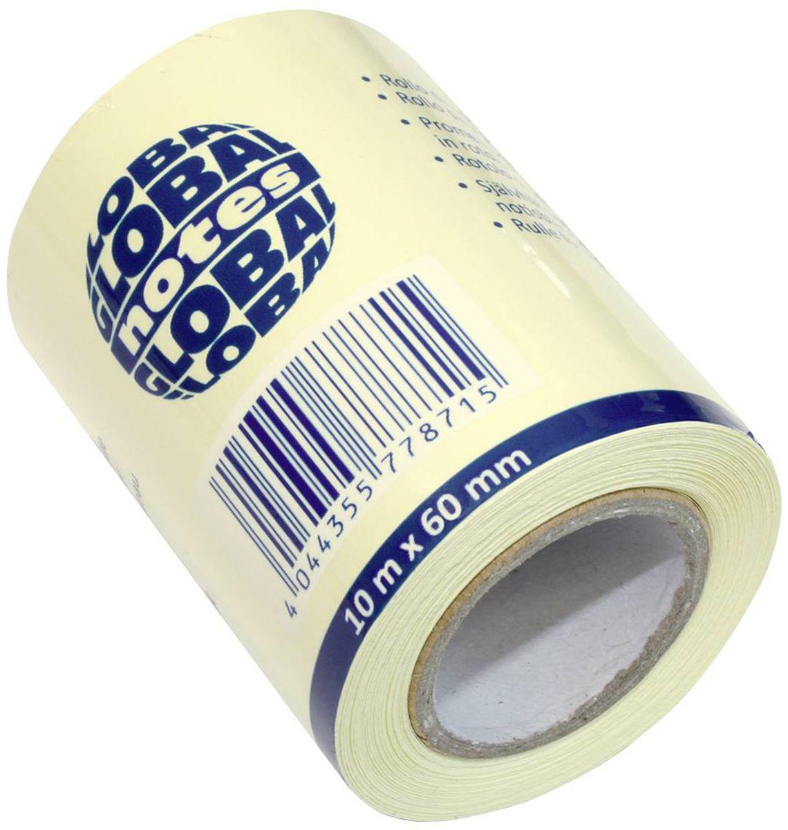 Global Notes Бумага для заметок с липким слоем цвет желтый 60 мм х 10 м 362001362001Бумага для заметок с липким слоем, разм. 60 мм х10 м, желтая, в роле, запасной блок для арт. 362401