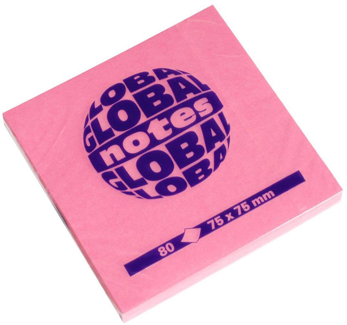 Global Notes Бумага для заметок с липким слоем цвет розовый 80 листов