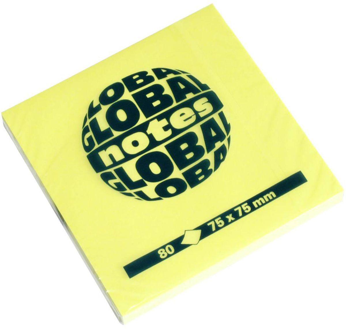 Global Notes Бумага для заметок с липким слоем цвет желтый 80 листов365434Бумага для заметок с липким слоем. Идеально подходит для информации, требующей особого внимания. Яркая цветовая гамма. Размер 75х75 мм. Цвет - ярко-желтый. В блоке 80 листов Плотность бумаги 70гр/м2