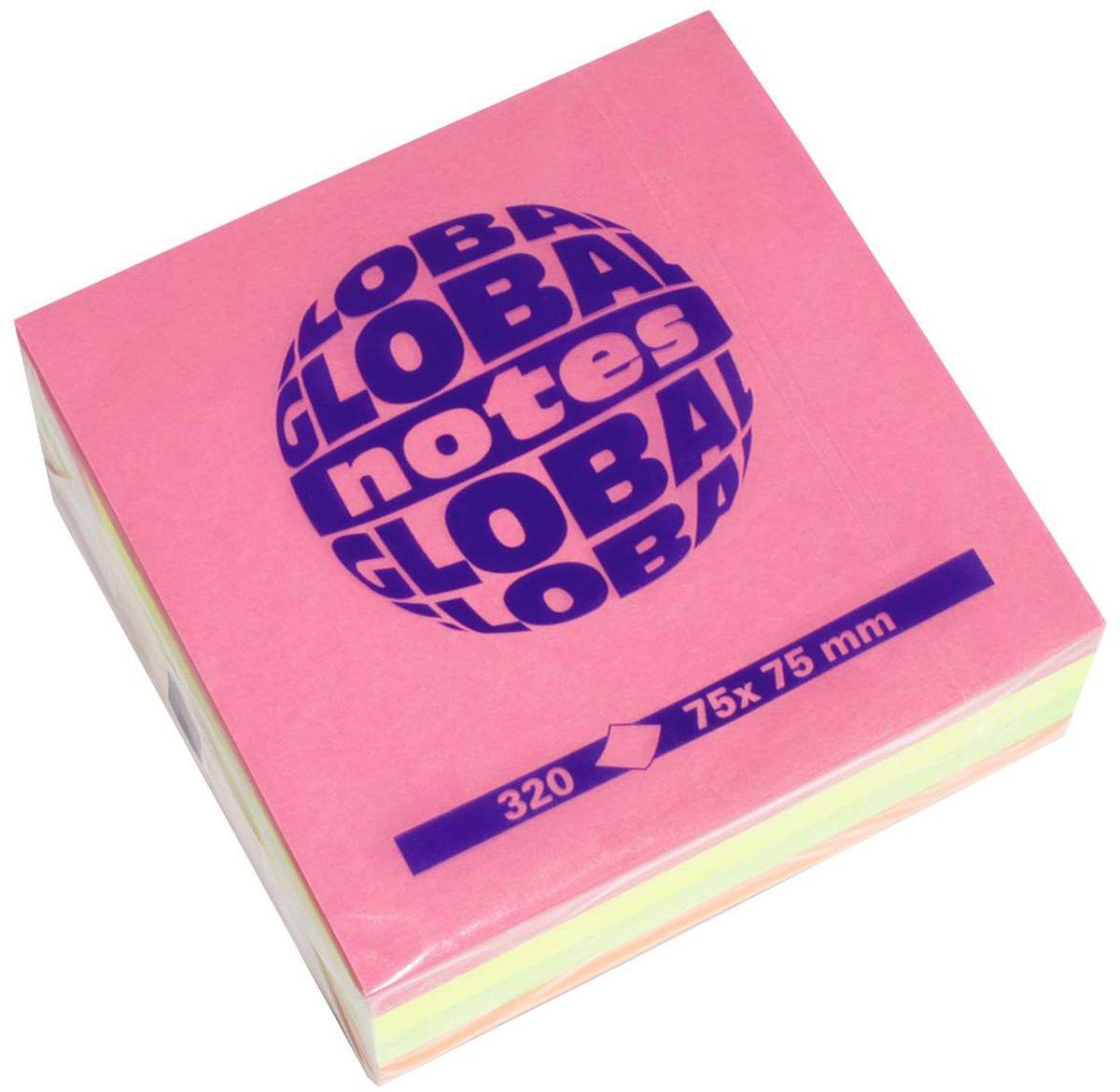Global Notes Бумага для заметок с липким слоем 320 листов3654394-х цветная яркая. В блоке бумажки ярко-розового, желтого, оранжевого и зеленого цвета. Размер 75х75 мм. В блоке 320 листов Плотность бумаги 70гр/м2