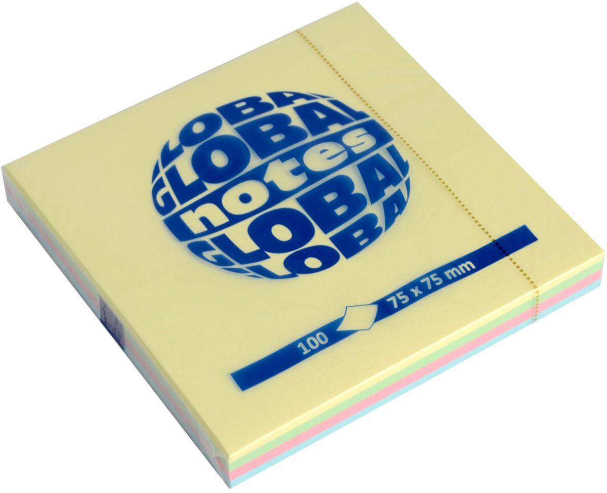 Global Notes Бумага для заметок с липким слоем Радуга 100 листов365498Бумага с клеевым слоем. Размер 75х75 мм, в блоке 100 листов. Пастельные цвета Плотность бумаги 70гр/м2