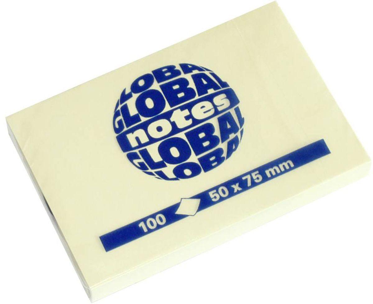 Global Notes Бумага для заметок с липким слоем цвет желтый 100 листов 365601365601С липким слоем, желтого пастельного цвета. Размер 50х75 мм. В блоке 100 листов Плотность бумаги 70гр/м2