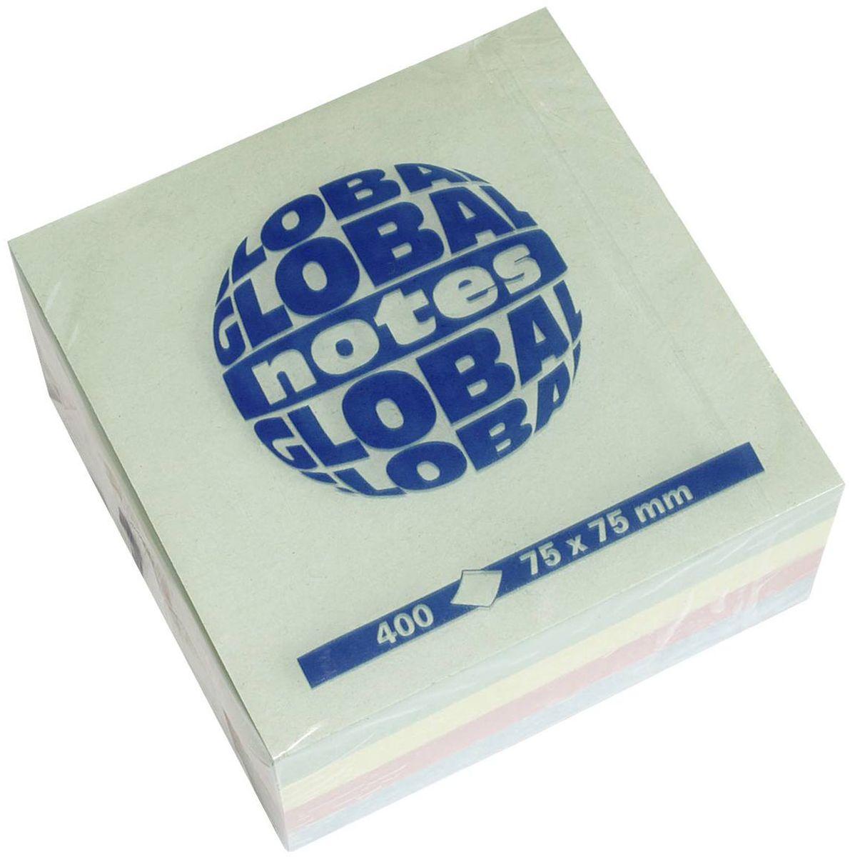 Global Notes Бумага для заметок с липким слоем Радуга 400 листов3820984-х цветная яркая. В блоке бумажки ярко-розового, желтого, голубого и зеленого цвета. Размер 75х75 мм. В блоке 400 листов Плотность бумаги 70гр/м2
