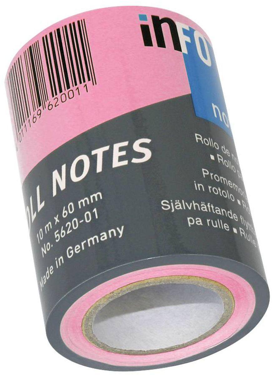 Global Notes Бумага для заметок с липким слоем цвет розовый 60 мм х10 м562032Бумага для заметок в рулоне для диспенсера 562401, размер 60ммх10м, ярко-розовая