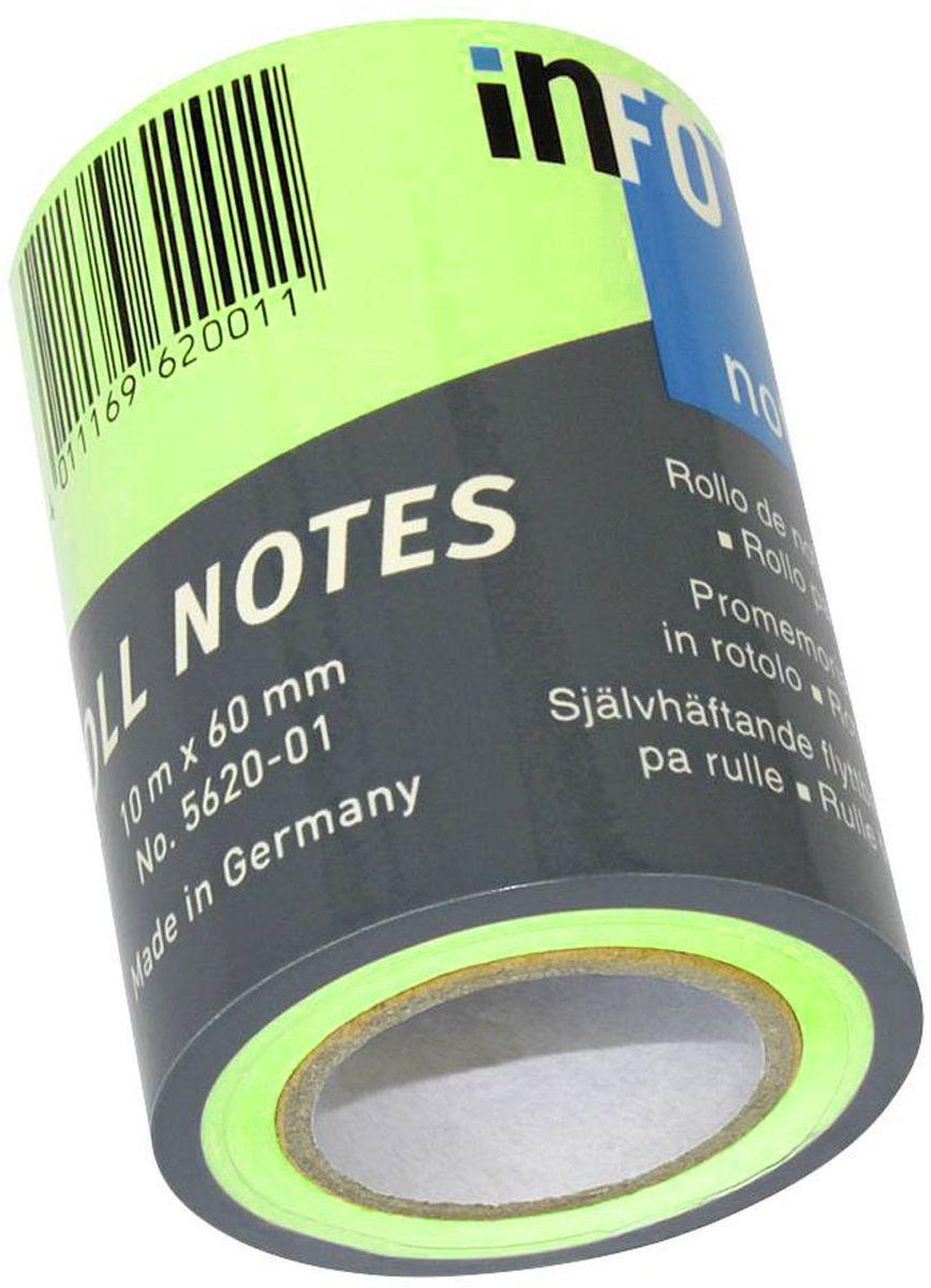 Global Notes Бумага для заметок с липким слоем цвет салатовый 60 мм х 10 м562033Бумага для заметок в рулоне для диспенсера 562401, размер 60ммх10м, салатовая