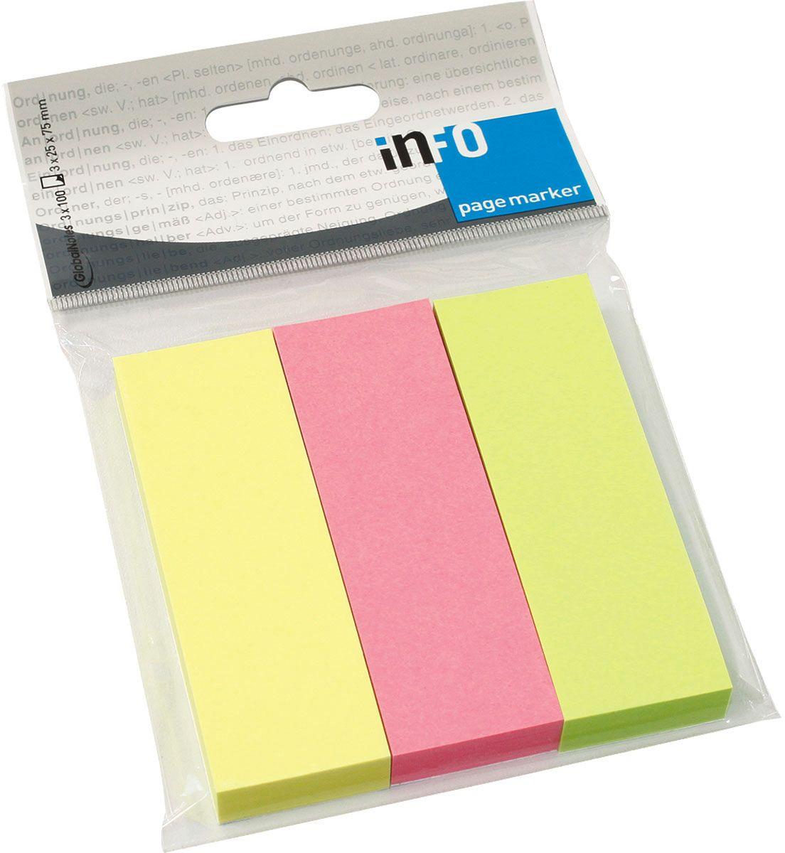 Global Notes Блок-закладка с липким слоем 300 листов567139Бумажные закладки с липким слоем предназначены для наиболее эффективного выделения важной информации без повреждения книги или документа. Идеально подходят для быстрой и эффективной работы - просто выдели и найди. Размер 25х75 мм. 100 листов, 3 цвета Толщина бумаги 50 мкр.