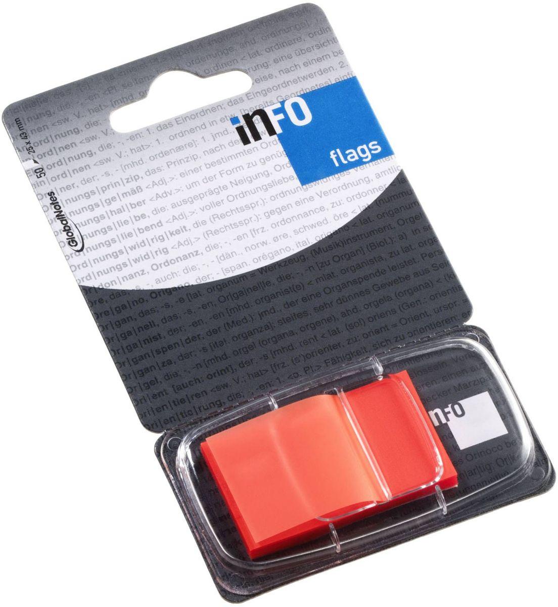 Global Notes Блок-закладка с липким слоем цвет оранжевый 50 листов772812Пластиковые закладки предназначены для наиболее эффективного выделения важной информации без повреждения книги или документа. Идеально подходят для быстрой и эффективной работы - просто выдели и найди. Закладки можно переклеивать несколько раз. Упакованы в компактный пластиковый диспенсер с европодвесом по 50 штук. Размер 25х43 мм. Цвет - оранжевый