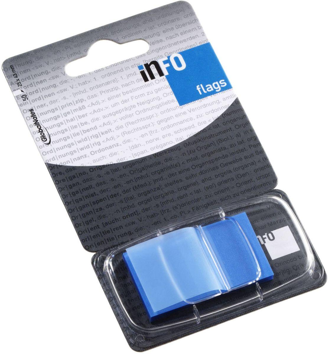 Global Notes Блок-закладка с липким слоем цвет голубой 50 листов772836Пластиковые закладки предназначены для наиболее эффективного выделения важной информации без повреждения книги или документа. Идеально подходят для быстрой и эффективной работы - просто выдели и найди. Закладки можно переклеивать несколько раз. Упакованы в компактный пластиковый диспенсер с европодвесом по 50 штук. Размер 25х43 мм. Цвет - голубой