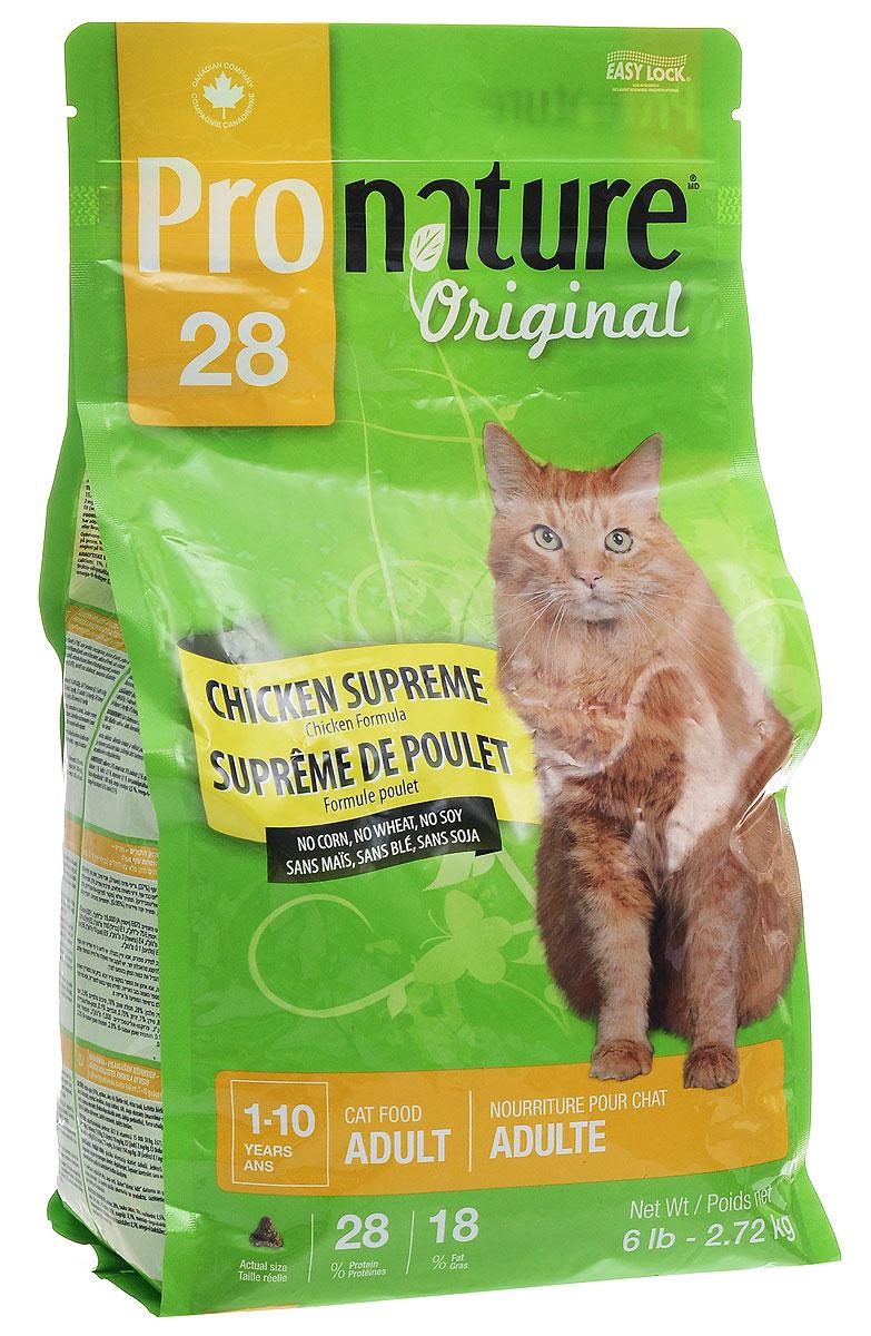 Корм сухой Pronature Original 28, для кошек, с курицей, 2,72 кг102.410Корм сухой Pronature Original 28 - это сбалансированный полнорационный корм для кошек. Корм приготовлен по особенному рецепту из куриного мяса, который не только обладает ярким и неповторимым вкусом, но обеспечивает вашего любимца всеми необходимыми полезными веществами, способствующими укреплению организма, повышению тонуса мышц и хорошему самочувствию. Не содержит сои, пшеницы и кукурузы. Подходит для взрослых кошек от 1 года до 10 лет. Товар сертифицирован.