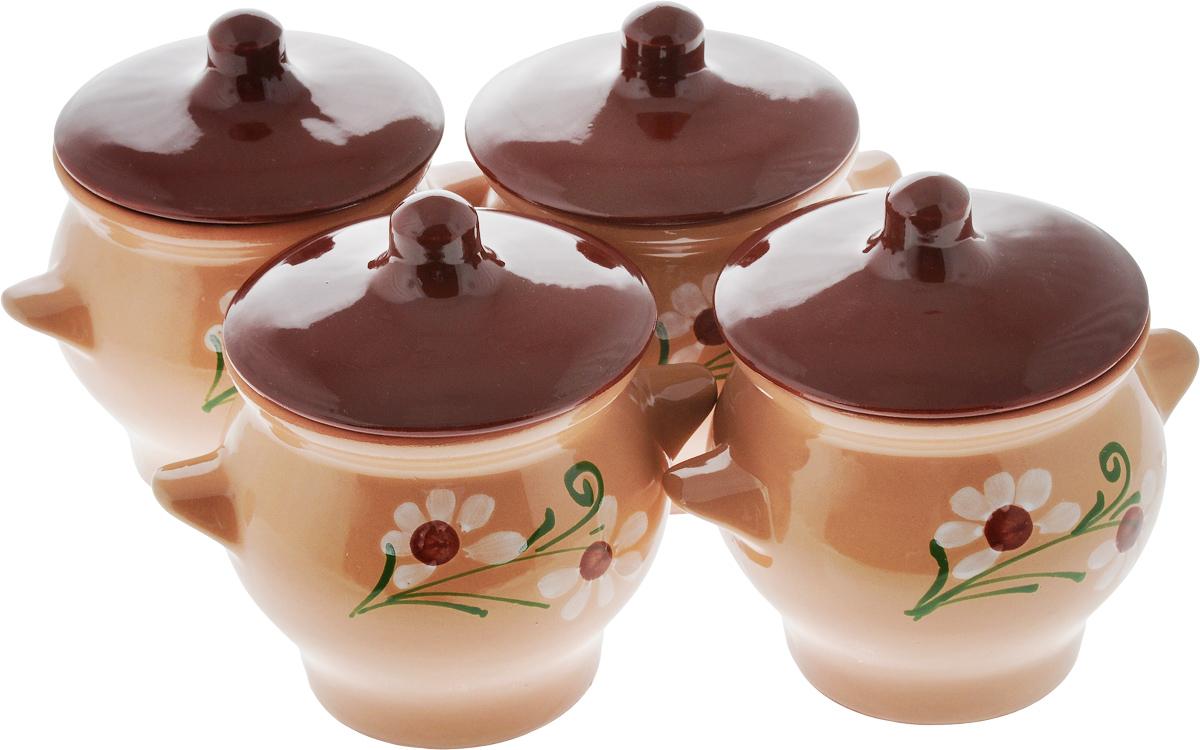 Набор горшочков для запекания Борисовская керамика Стандарт, с крышками, 700 мл, 4 штОБЧ00000085_светло-коричневый, коричневый, ветка