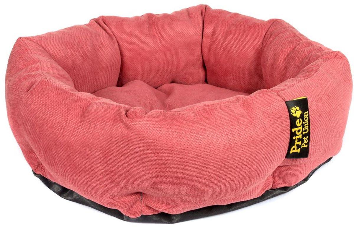 Лежак для животных Pride Ватрушка. Дели, цвет: ягодный, 45 х 45 х 12 см10011291
