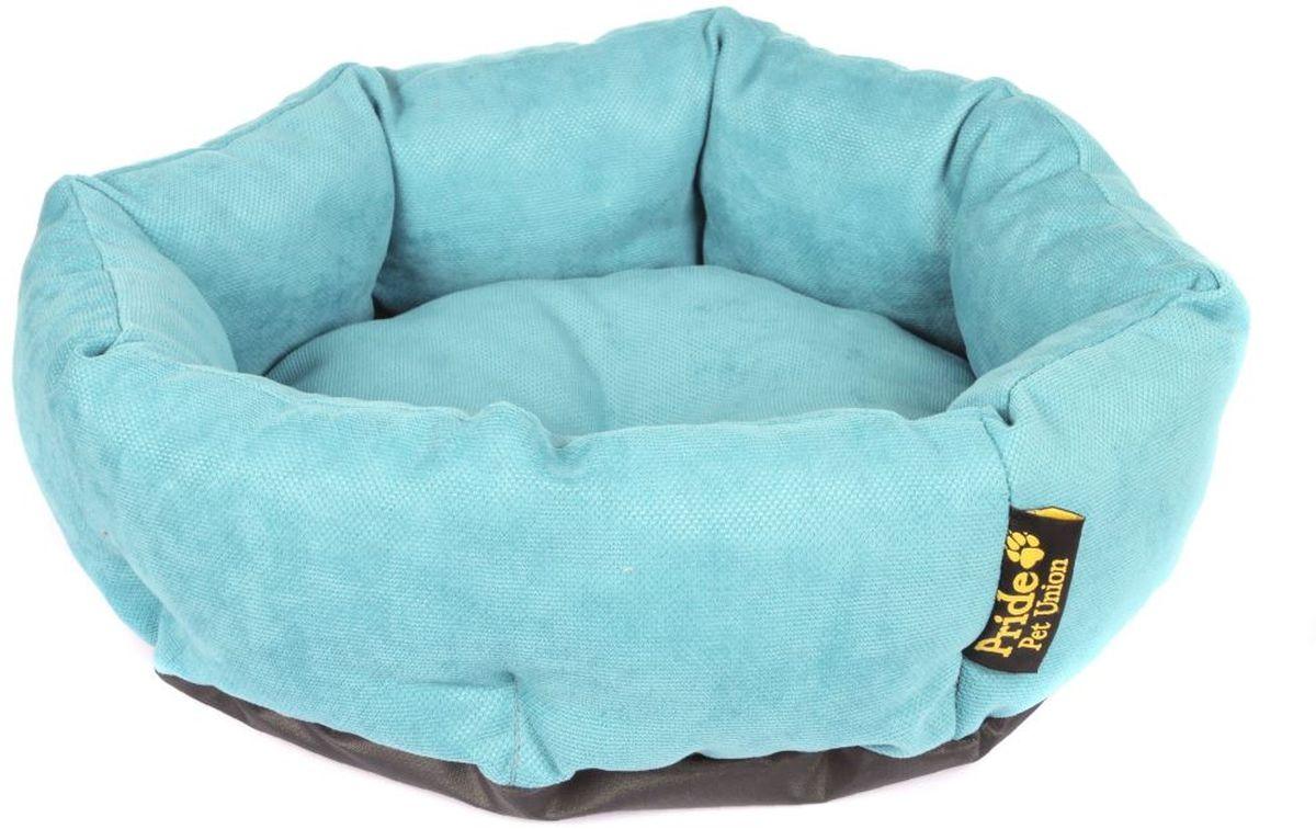 Лежак для животных Pride Ватрушка. Дели, цвет: бирюза, 45 х 45 х 12 см10011321