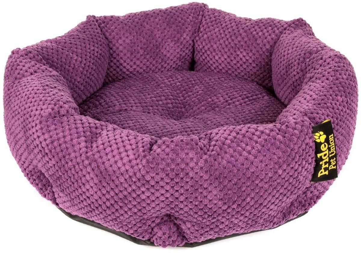 Лежак для животных Pride Ватрушка. Велюр, цвет: фиолетовый, 45 х 45 х 12 см10011331