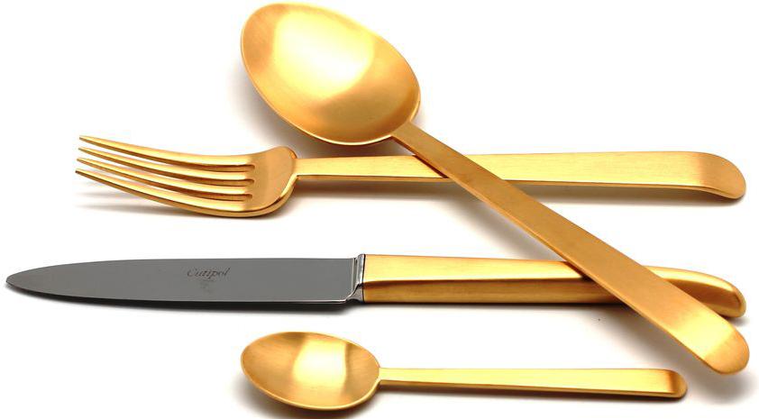 Набор столовых приборов Cutipol Ergo Gold, цвет: золотой матированный, 24 предмета. 91229122Португальская компания Cutipol основана в 1963 году. Безупречное качество столовых приборов Cutipol, практичный, современный дизайн, использование сплава стали с 18% хрома и 10% никеля, ручная полировка, толщина приборов в 3,5 мм делают эти столовые приборы украшением любого стола, подчеркивая его аристократический вкус и стиль. Серии столовых приборов Cutipol включают в себя как традиционный, так и современный дизайн».