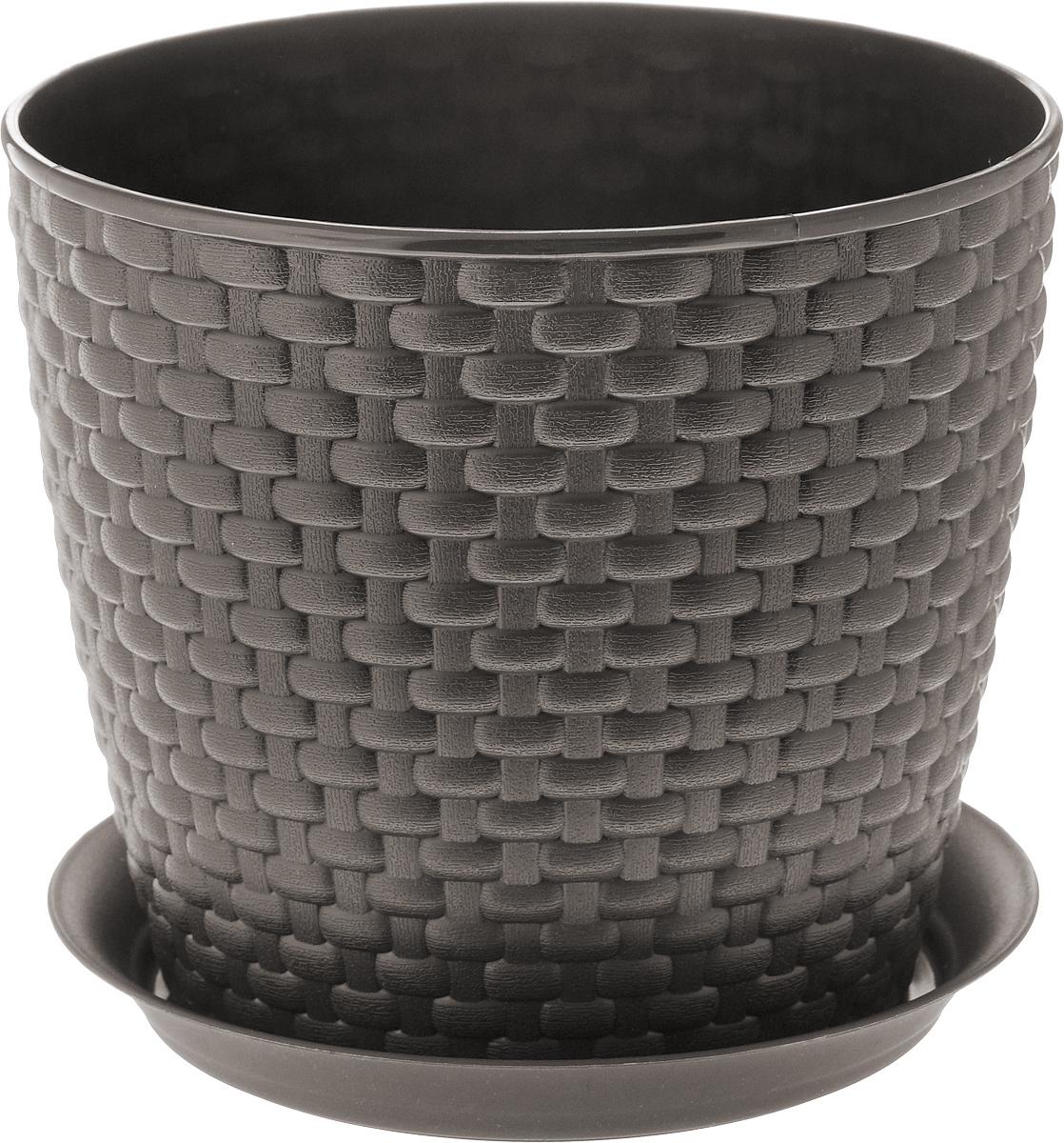 Кашпо Idea Ротанг, с поддоном, цвет: коричневый, 3 лМ 3082_коричневыйКашпо Idea Ротанг изготовлено из высококачественного пластика. Специальный поддон предназначен для стока воды. Изделие прекрасно подходит для выращивания растений и цветов в домашних условиях. Лаконичный дизайн впишется в интерьер любого помещения. Диаметр поддона: 18 см. Объем кашпо: 3 л. Диаметр кашпо по верхнему краю: 18 см. Высота кашпо: 16 см.