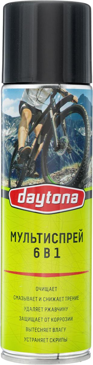 Мультиспрей 6 в 1 Daytona, для велосипеда, 335 мл2010104Мультиспрей для велосипеда 6 в 1 Daytona обеспечивает надежную смазку трущихся поверхностей: шарниров, роликов, резьбовых соединений, а также очищает и смазывает электроконтакты. Удаляет ржавчину, устраняет скрип, ослабляет туго затянутые и закисшие резьбовые соединения. Предотвращает примерзание резиновых деталей. Предохраняет от коррозии все металлы и вытесняет влагу, создавая на поверхности устойчивую защитную пленку. Нейтрален к пластикам, металлам, лакокрасочным поверхностям и дереву. Состав: минеральное масло, высокоочищенные алифатические углеводороды, антикоррозийные и функциональные добавки, пропан, бутан. Товар сертифицирован.