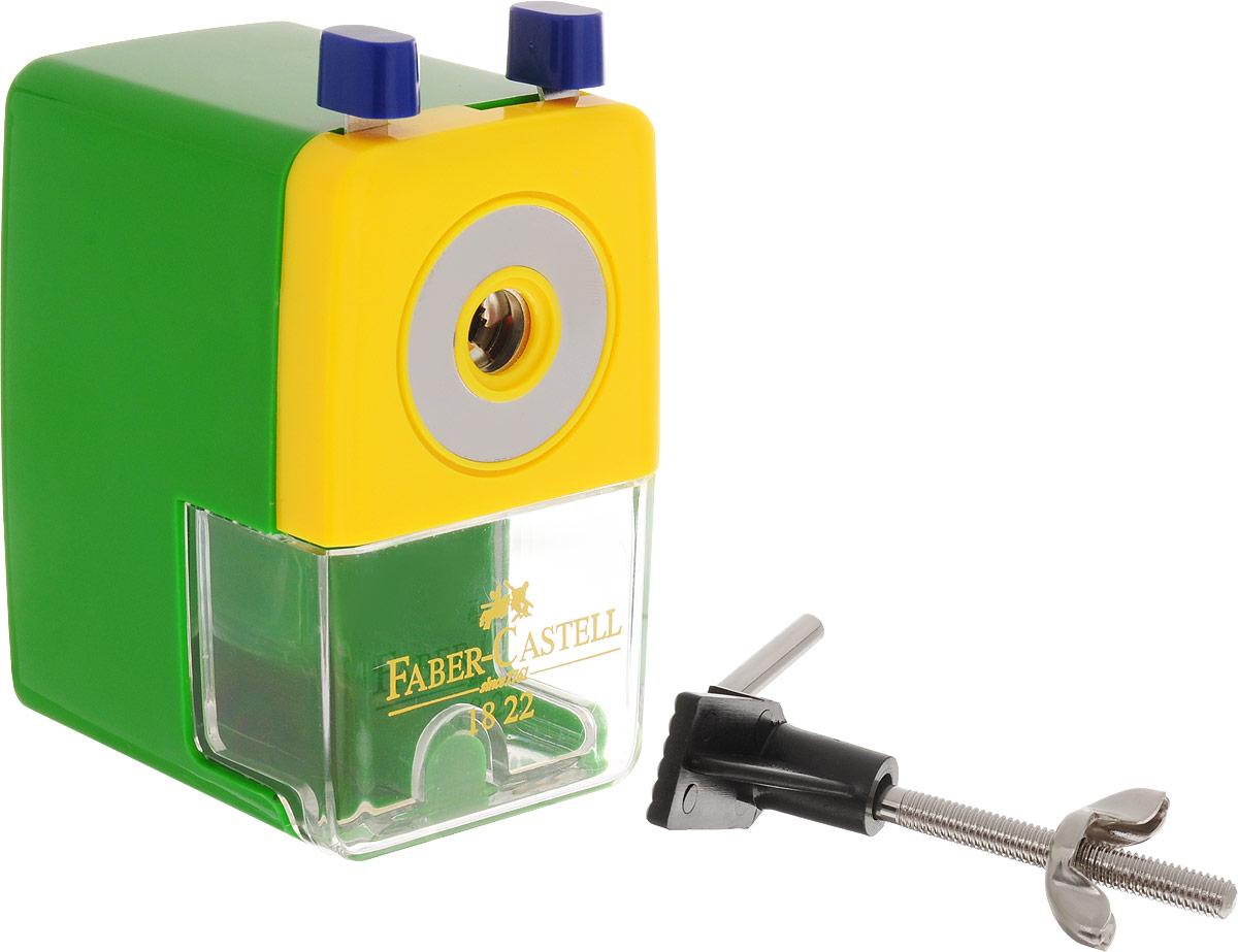 Faber-Castell Точилка настольная цвет зеленый582200_зеленыйТочилка Faber-Castell - удобный и практичный инструмент в повседневной офисной работе. Точилка из высококачественного пластика оснащена рукояткой с механизмом кругового вращения и съемным контейнером для стружки. Вращающийся, остро заточенный металлический нож точилки обеспечивает бережную и качественную заточку круглых, шестигранных и трехгранных карандашей. В комплекте с точилкой предусмотрено крепление к столу.