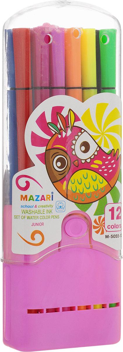 Mazari Набор фломастеров Junior цвет футляра розовый 12 цветов