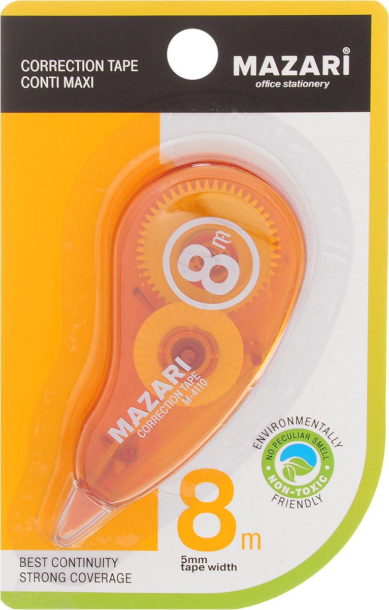 Mazari Корректирующая лента-роллер Conti Maxi цвет оранжевый 5 x 8000 ммМ-4110_оранжевыйКорректирующая лента- роллер Mazari Conti Maxi предназначена для корректировки текста на любом виде бумаги. Имеет эргономичный корпус, высокую укрывистость. Не имеет запаха.