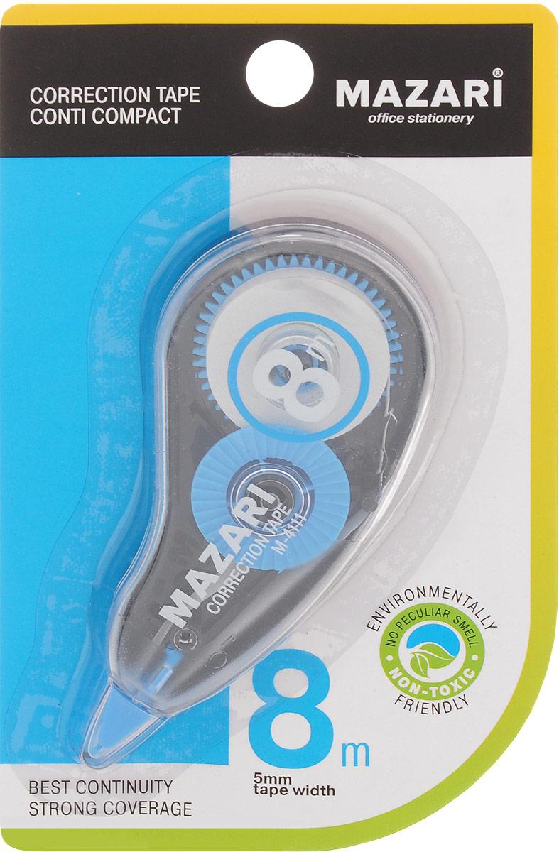 Mazari Корректирующая лента-роллер Conti Compact цвет синий 5 x 8000 ммМ-4111_синийКорректирующая лента- роллер Mazari Conti Compact предназначена для корректировки текста на любом виде бумаги. Имеет эргономичный корпус, высокую укрывистость. Не имеет запаха.