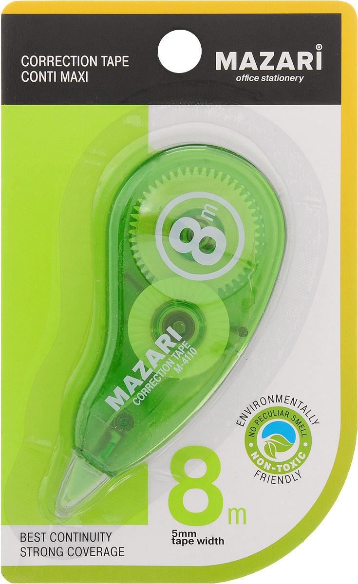 Mazari Корректирующая лента-роллер Conti Maxi цвет зеленый 5 x 8000 ммМ-4110_зеленыйКорректирующая лента- роллер Mazari Conti Maxi предназначена для корректировки текста на любом виде бумаги. Имеет эргономичный корпус, высокую укрывистость. Не имеет запаха.