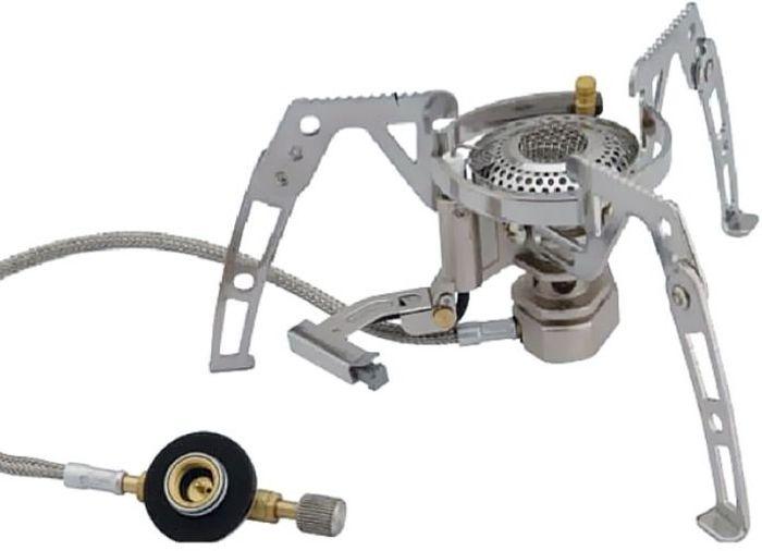 Горелка газовая Tramp, складная со шлангом и пьезоподжигом, цвет: металл. TRG-010