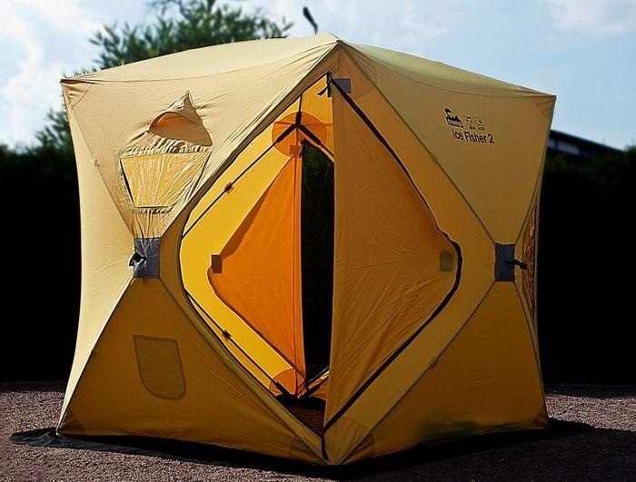 Палатка Tramp IceFisher 2, цвет: желтый. TRT-109TRT-109Размер: 150x150x170 см Количество мест: 2 Колышки: ввертыши сталь 6 шт Количество входов: 2 Полный вес: 8 кг Высота: 170 см Размер в упаковке: 20x20x125 см - Идеальна для зимней рыбалки на льду, устанавливается за 45секунд - Две двери, четыре обзорных окна, которые можно использовать как вентиляцию - Два вентиляционных отверстия - Два кармана для мелочей внутри - Широкая юбка по периметру - Усиленные молнии - Ледовые ввертыши в комплекте - Светоотражающие элементы на каждой стороне и гранях - Удобная сумка для переноски.